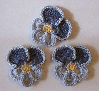 Lot of 3 Crochet Flowers - Dusty Blue Pansy