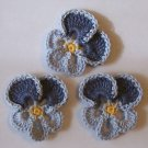 Lot of 3 Crochet Flowers - Dusty Blue Pansy