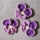 Lot of 3 Crochet Flowers - Lavender / Purple Pansy