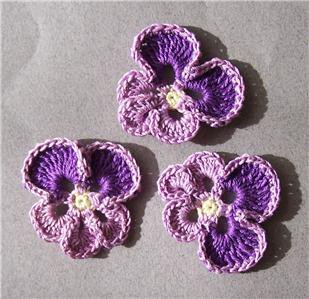 Lot of 3 Crochet Flowers - Lavender / Purple Pansy