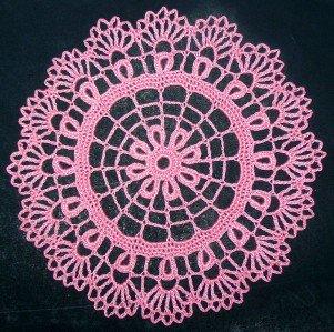 "Hand Crochet Vintage Style Doily / Motif - 7"" / 18cm - (French Rose)"