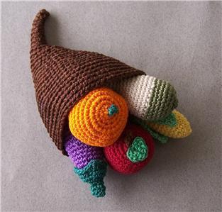 Hand Crochet Miniature 6 piece Cornucopia - Autumn - Thanksgiving