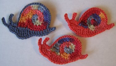 Lot of 3 Hand Crochet - Mom & Baby Snails - Dusty Blue / Coral - made in the USA