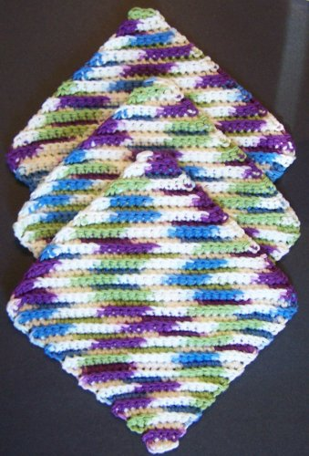 3 Crochet Cotton Dishcloth/Washcloth - Diagonal in Fruit Punch - Made in USA