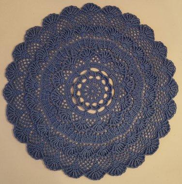 "Hand Crochet Textured Doily 11.75"" / 30cm (True Blue)"