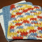 3 Crochet Cotton Dishcloth/Washcloth-Linen White/Blue/Rust-Made in USA