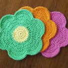 3 Crochet Cotton Dishcloth/Washcloth - Flower Power - Made in USA