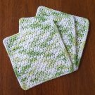 3 Crochet Cotton Dishcloth/Washcloth - Varigated Lime - Scrubby - Made in USA