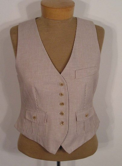 NEW WITH TAG $108 TALBOTS Womens Vest 10P 10 Petites Brown Tan NWT