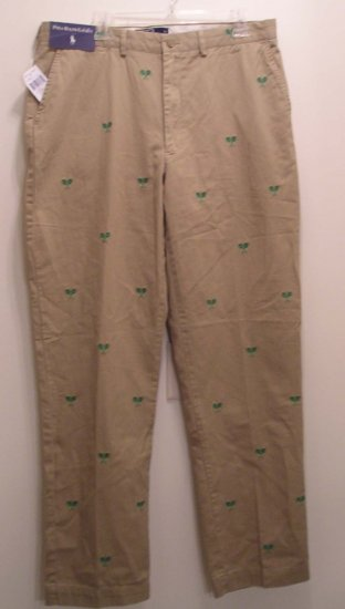 NEW WITH TAG $165 POLO RALPH LAUREN Mens Pants 34 32 Tennis Racquets NWT