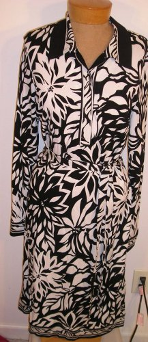 NEW $148 TALBOTS Womens Dress 8 Misses Black White NWT NR