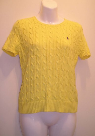 NEW RALPH LAUREN SPORT POLO Womens Sweater Top L Large Cotton Yellow