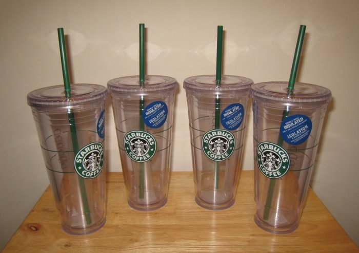 NEW 4 STARBUCKS Clear Insulated Tumbler 20 oz Venti Cup