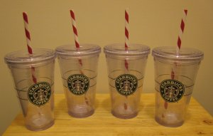 NEW 4 STARBUCKS Clear Tumbler 16 oz Grande Holiday Cups