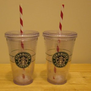 NEW  2 STARBUCKS Clear Tumblers 16 oz Grande Holiday Cups