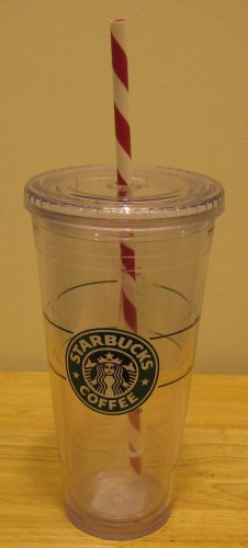 NEW 1 STARBUCKS Clear Tumbler 20 oz Venti Holiday Cup