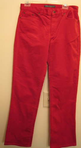 NEW RALPH LAUREN POLO Womens Corduroy Pants 6 NWT Red