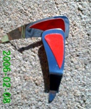 Red leather *Zaro design clip on earrings