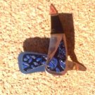 Black and blue leather flower stamped *Zaro 2 design dangle earrings