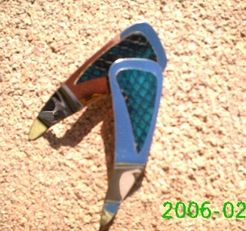 Teal genuine snake skin *Zaro design clip-on earrings