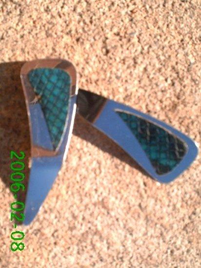 Teal genuine snake skin *Zaro design dangle earrings