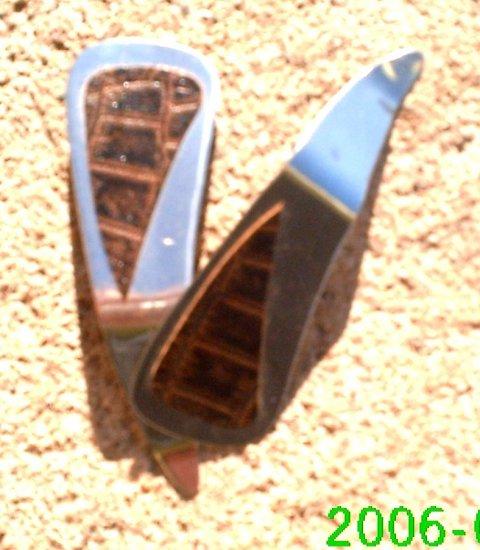 Brown crocodile stamped leather dangle earrings