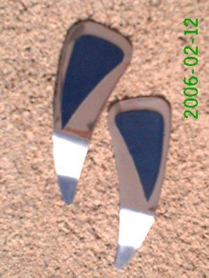 Navy leather *Zaro design dangle earrings
