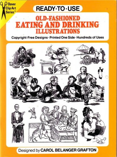 OLD-FASHIONED EATING & DRINKING ILLUSTRATIONS~CLIP ART ~DRAWING REFERENCE BOOK