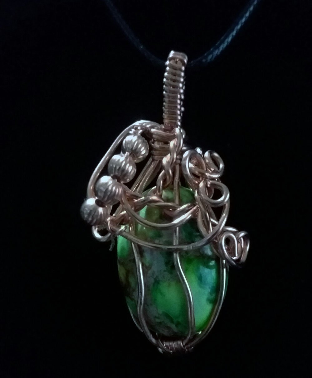 Grass Green Sea Sediment Jasper Pendant-01