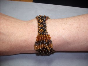 Brown and Gold Beaded Bracelet BR-9