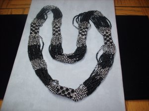 Black & Silver Multi-Strand Beaded Necklace NC-3