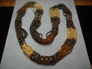 Gold and Bronze Multi-Strand Beaded Necklace NC-2