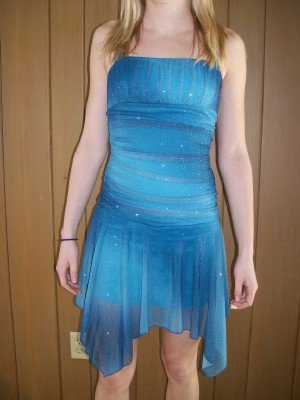 Teen Party Dress, Smokey Aqua Color with glitter sparkles