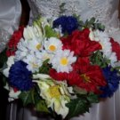 Red, White and Blue Wedding Bouquet with Mixed Silk Flowers