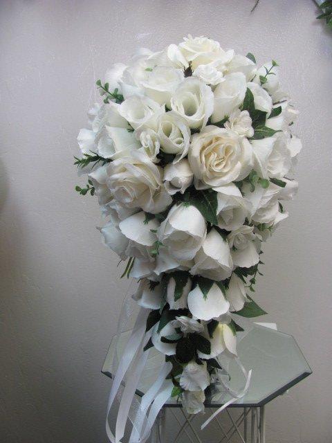 Natural White Silk Rose Cascade Bouquet  151