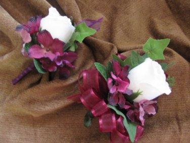 Prom Set: Silk Rose Bud and Hydrangea Corsage & Boutonniere 2101