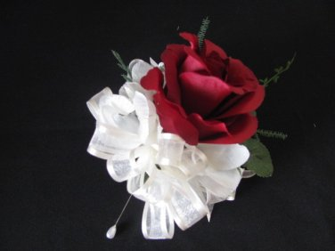 Dark Red Ruffled Rose Corsage for Wedding or Prom 2100