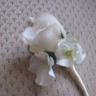 N. White Silk Rose Boutonniere with Hydrangea Button Hole Flower wedding or prom 016NW