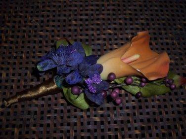 Mango with Hydrangea Calla Lily Boutonniere 3262a