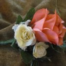 Custom Dyed Coral Reef Rose Boutonniere 3181a