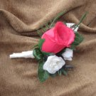 Hot Pink Rose Bud with Spray Roses Boutonniere for Wedding or Prom