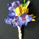 Sunflower and Delphinium Boutonniere 4378a