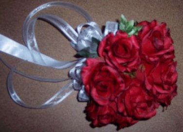 """Hot Pink, Natural White, Red or other Silk Roses in a 8"""" Hand Tied bridal / wedding bouqet.. 1062"""