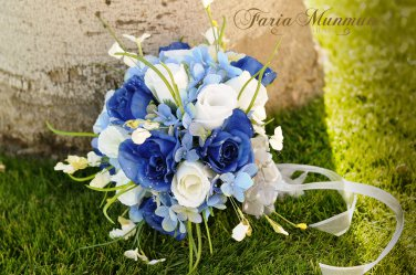 """Silk Rose Buds and Accent Flowers in a 10"""" Round Bridal Bouquet #500"""