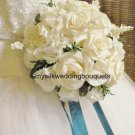 "Silk Roses with Lilies of the Valley and Stephanotis in a 10"" Round Bridal Bouquet #566"