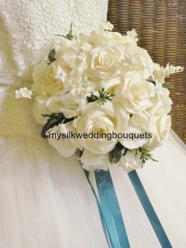 """Silk Roses with Lilies of the Valley and Stephanotis in a 10"""" Round Bridal Bouquet #566"""