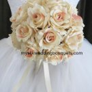 "Silk Ruffled Roses in a 10"" Round Bridal Bouquet #510"