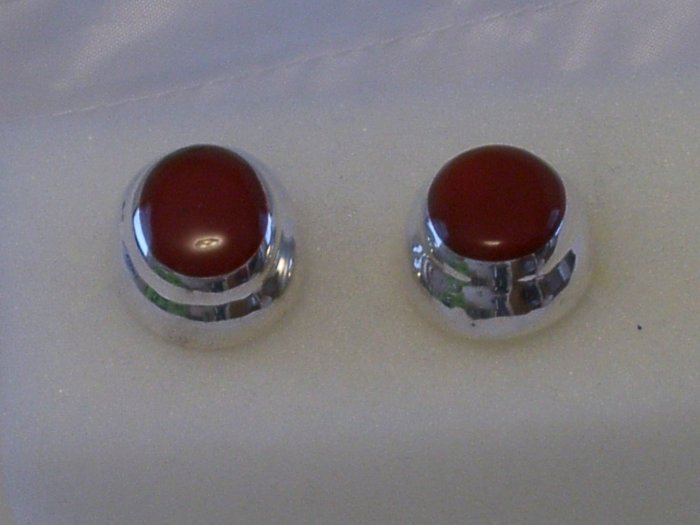 Sterling Silver Earrings Posts w/ Dyed Red Jasper Inlay