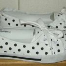 DOLLHOUSE White Black Polka Dot Canvas Flat Shoes 7 NEW