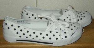 DOLLHOUSE White Black Polka Dot Canvas Flat Shoes 7 NEW